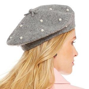 27be893c07e99 kate spade Accessories - Kate Spade New York Pearl Wool Beret Hat Gray